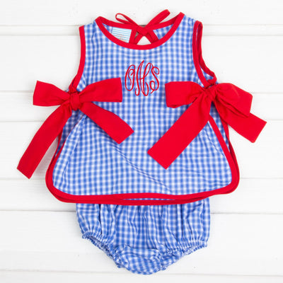 Bright Blue Plaid Side Tie Bloomer Set