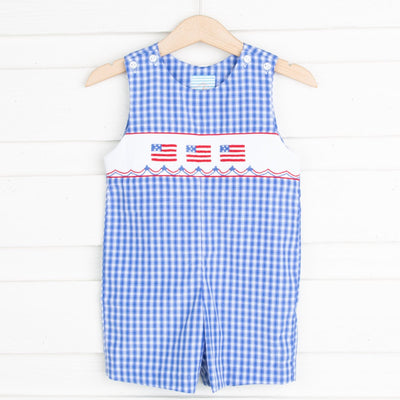 Flag Smocked Jon Jon Bright Blue Plaid