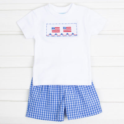 Flag Smocked Short Set Bright Blue Plaid