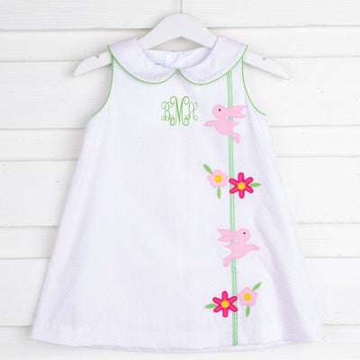 Bunnies and Flowers Applique Sally Dress Pink Dot