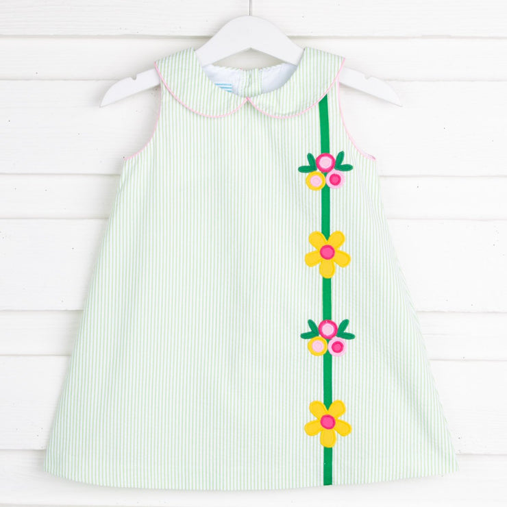 Floral Applique Sally Dress Light Green Stripe