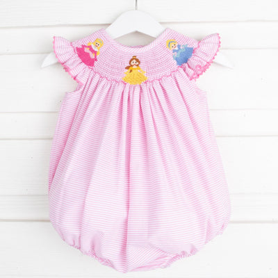 Princess Smocked Bubble Light Pink Stripe