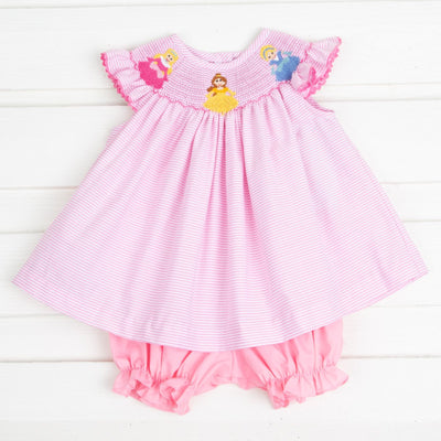 Princess Smocked Bloomer Set Light Pink Stripe