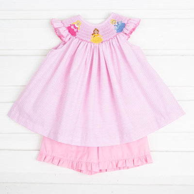 Princess Smocked Short Set Light Pink Stripe