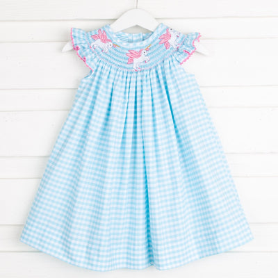 Unicorn Smocked Dress Turquoise Gingham