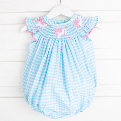 Unicorn Smocked Bubble Turquoise Gingham