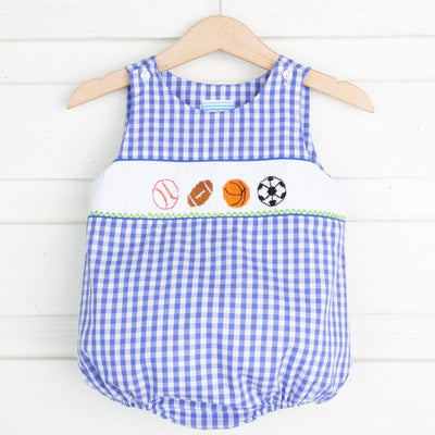 Sport Smocked Sun Bubble Royal Blue Check