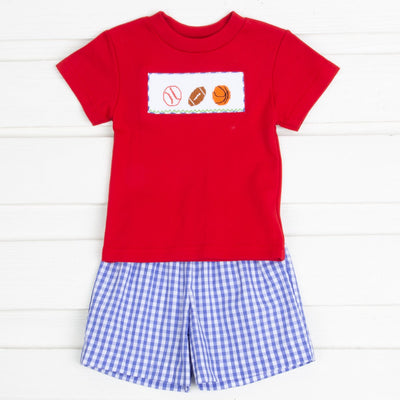 Sport Smocked Short Set Royal Blue Check
