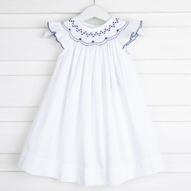 Navy and White Geometric Smocked Dress White Pique