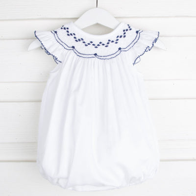 Navy and White Geometric Smocked Bubble White Pique