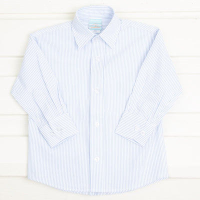 Light Blue Seersucker Stripe Button Down