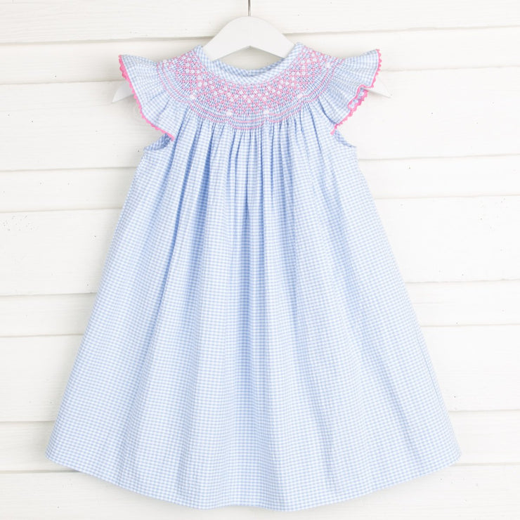 Pink Geometric Smocked Dress Light Blue Gingham Seersucker
