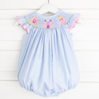 Fairytale Smocked Bubble Light Blue Gingham
