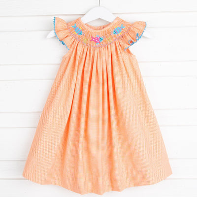 Fish Smocked Dress Orange Gingham