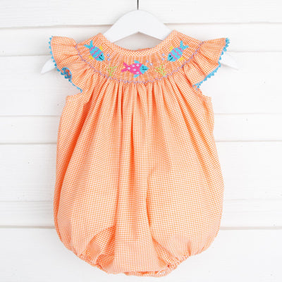 Fish Smocked Bubble Orange Gingham