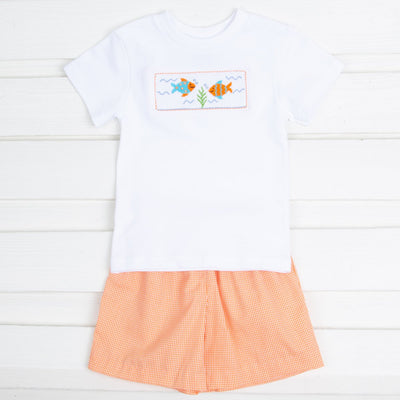 Fish Smocked Short Set Orange Gingham