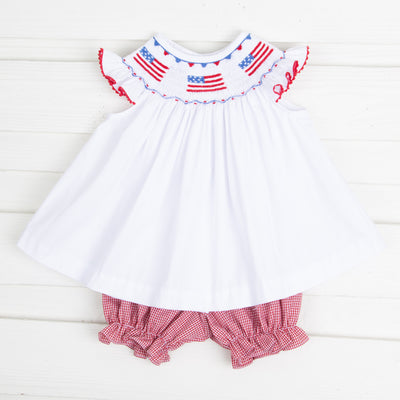 Flag Smocked Bloomer Set Solid White