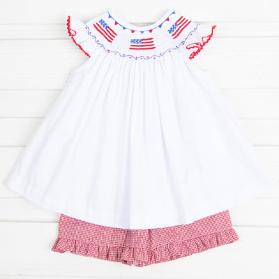 Flag Smocked Short Set Solid White