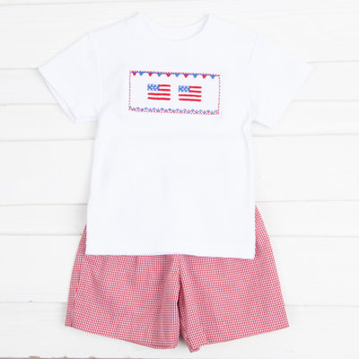 Flag Smocked Knit Short Set Red Gingham