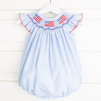 Flag and Banner Smocked Bubble Light Blue Gingham