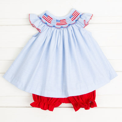 Flag and Banner Smocked Bloomer Set Light Blue Gingham