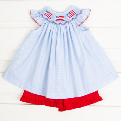 Flag and Banner Smocked Short Set Light Blue Gingham