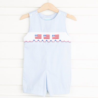 Flag and Banner Smocked Jon Jon Light Blue Gingham