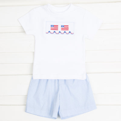 Flag and Banner Smocked Knit Short Set Light Blue Gingham