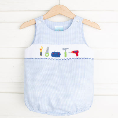 Tools Smocked Sun Bubble Light Blue Gingham