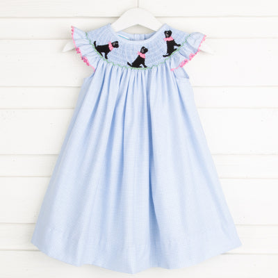 Black Lab Smocked Dress Light Blue Gingham