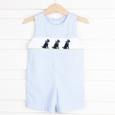 Black Lab Smocked Jon Jon Light Blue Gingham