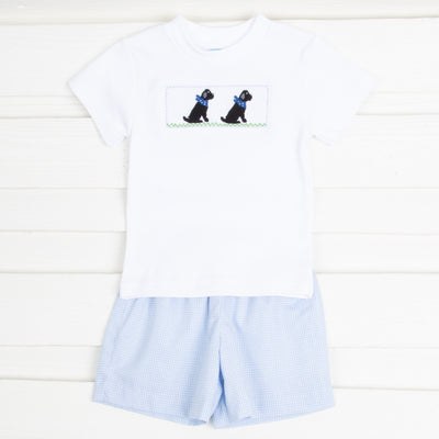 Black Lab Smocked Short Set Light Blue Gingham