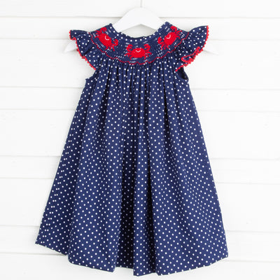Crab Smocked Dress Navy and White Dot