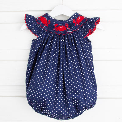 Crab Smocked Bubble Navy and White Dot