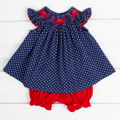 Crab Smocked Bloomer Set Navy and White Dot