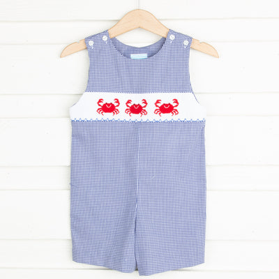 Crab Smocked Jon Jon Navy Gingham