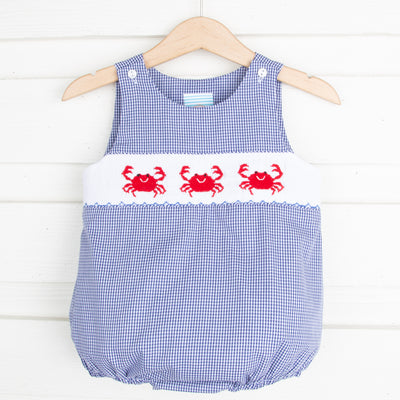Crab Smocked Sun Bubble Navy Gingham