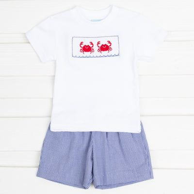 Crab Smocked Short Set Navy Gingham