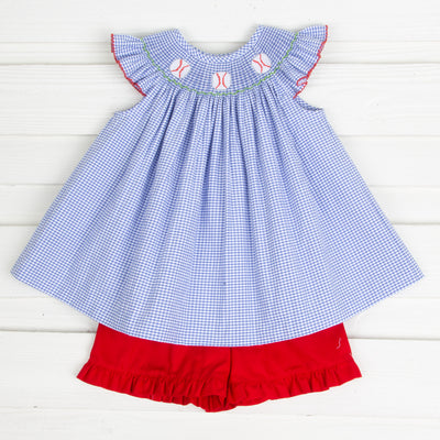 Baseball Smocked Short Set Royal Gingham