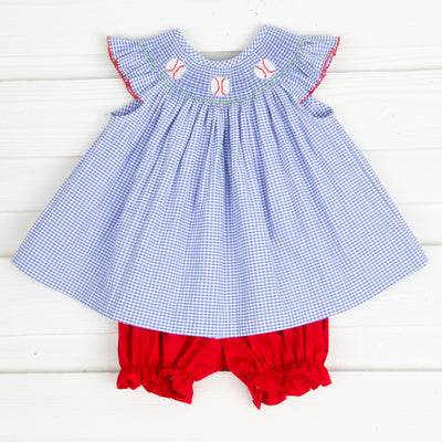 Baseball Smocked Bloomer Set Royal Gingham
