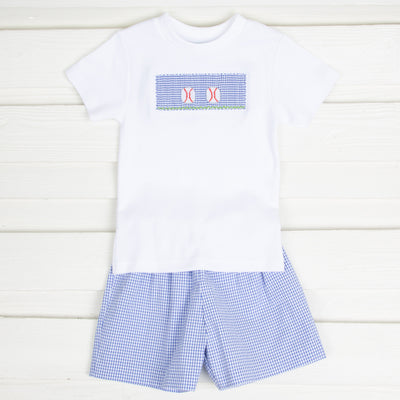 Baseball Smocked Boy Short Set Royal Gingham
