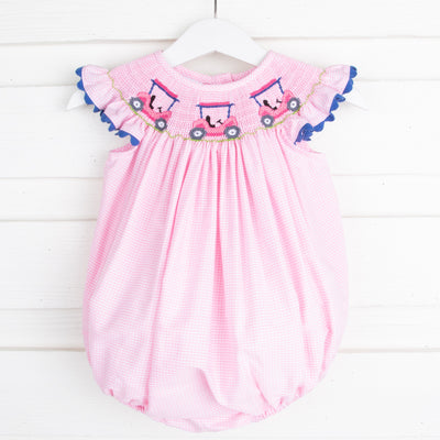 Golf Cart Smocked Bubble Light Pink Gingham