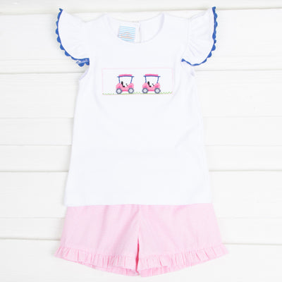 Golf Cart Smocked Girls Short Set Light Pink Gingham