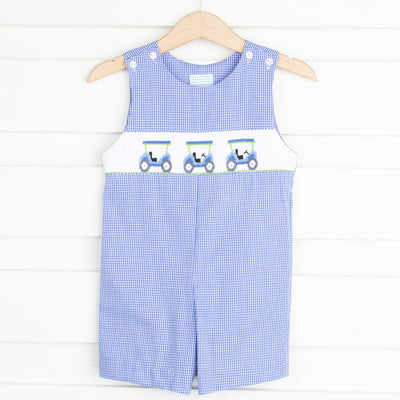 Golf Cart Smocked Jon Jon Royal Gingham