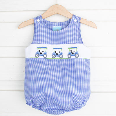 Golf Cart Smocked Sun Bubble Royal Gingham