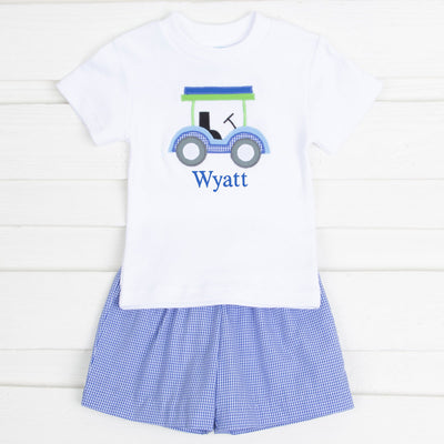 Golf Cart Applique Short Set Royal Gingham