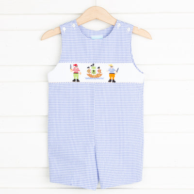 Pirate Smocked Jon Jon Royal Gingham