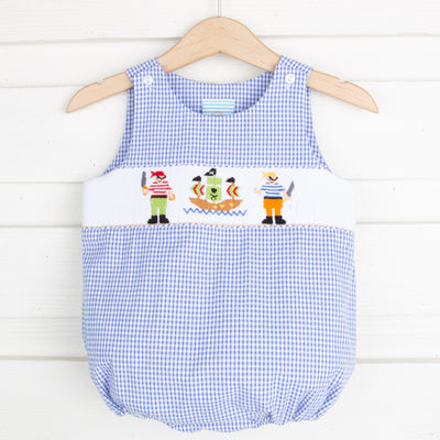 Pirate Smocked Sun Bubble Royal Gingham
