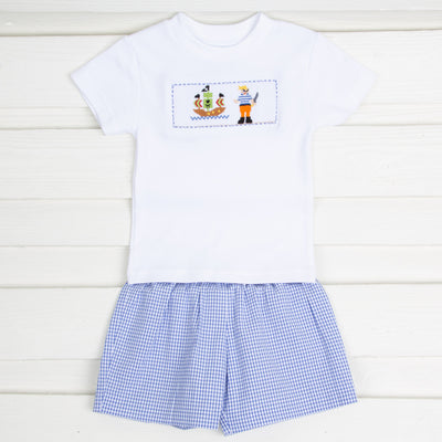 Pirate Smocked Short Set Royal Gingham