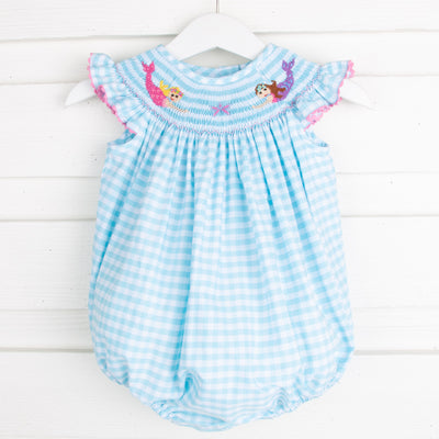 Mermaid Smocked Bubble Aqua Check